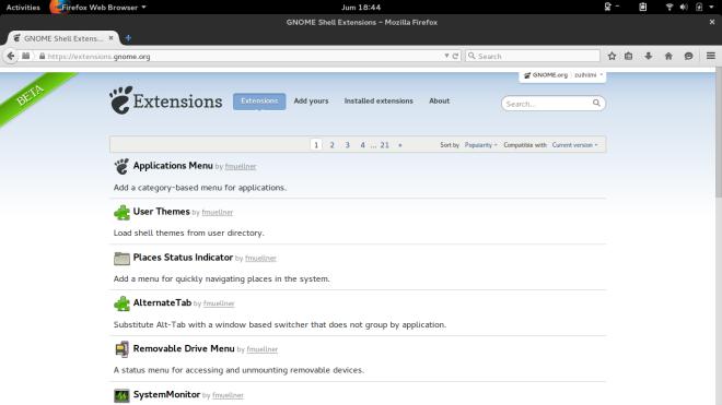 Gnome Extensions di Firefox