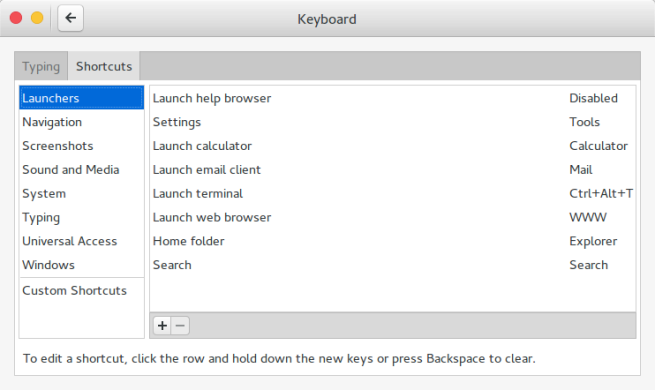 Gnome Settings: Keyboard