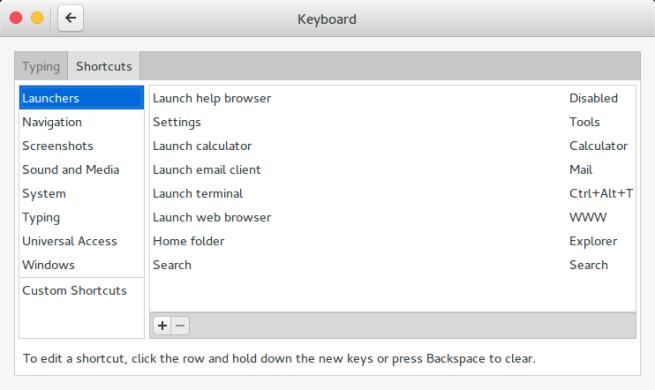 Gnome Settings: Keyboard