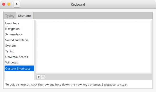 Gnome Settings: Keyboard (Custom Shortcuts)