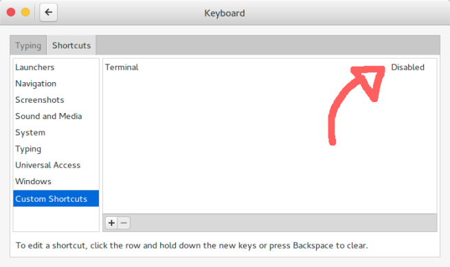 Gnome Settings: Keyboard (Add Key)