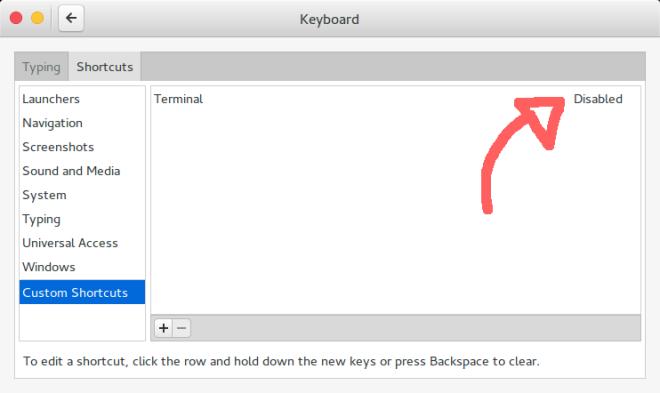 Gnome Settings: Keyboard (Add Key)