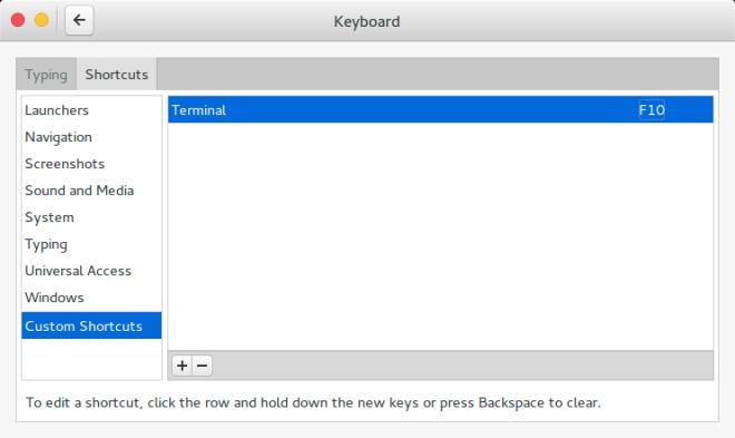 Gnome Settings: Keyboard (New Custom Shortcuts)